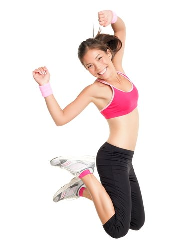 healthy fit girl jumping